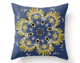 Modern Blue Floral decorative throw pillow, pillow cover, colorful accent cushion, home decor, bedding, blue home accessories, cushion