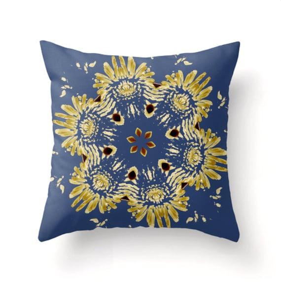 Modern Blue Floral decorative throw pillow pillow cover