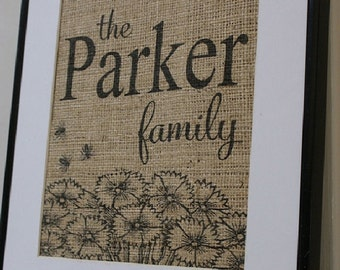 Free US Shipping...Personalized Family Burlap Print...great housewarming gift