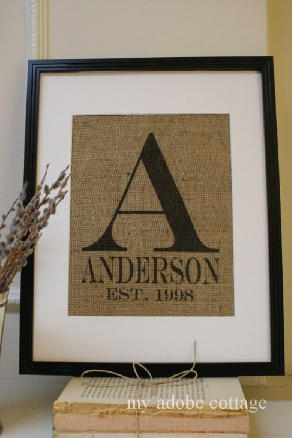 Free US Shipping...Personalized Engagement and Wedding Monogram Burlap Print...Great for wedding or anniversary!