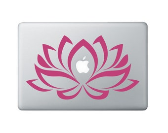 Flower Laptop Decal 2 - Lotus Flower Decal - Lotus Macbook Sticker