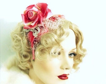 "Deep rose fascinator with dark satin rose and rhinestone bow  ""Clara Bow"""