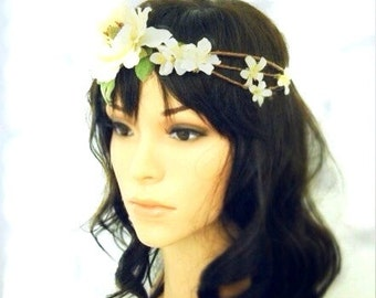 Elise- White wild rose tiara with apple blossoms bridal