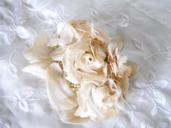 Creamy mocha millinery roses and petals with pearl and diamond vintage accents fascinator hair comb