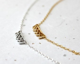 Triangle Necklace, Geometric Jewelry, Gold Filled or Sterling Silver Chain, Minimal Jewelry