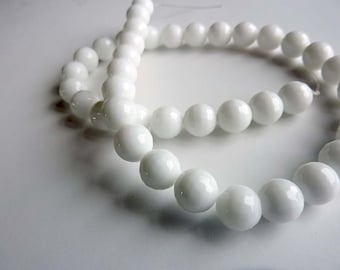 White Porcelain Agate faceted beads - 10mm Pair