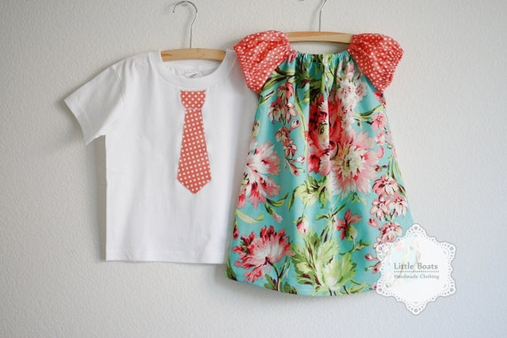 Brother / Sister SET ... Bliss Bouquet with Coral/White Polka Dot Peasant Dress & Tie Applique Boys SHORT sleeves T-shirts or Onesie