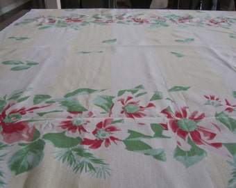 Tablecloth 56x50 sq Heavy Cotton Yellow White Red Green