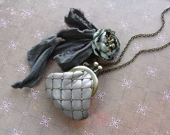 purse necklace, mauve gray, antique blue, quilting leather purse, handdyed, autumn necklace, rutic necklace, tattered necklace, beaded purse