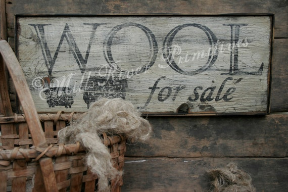 Early looking Antique Primitive Wool for sale Wooden Sign