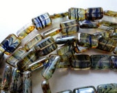 Rustic Hurricane Glass Beads - 8x12mm Rectangles - Czech Beads