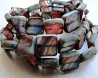 Window Beads - Red and Blue - Picasso - Premium Czech Glass Beads