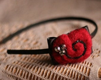 Sparkle Headband in Black and Garnet