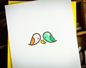 letterpress card mod bird family by The Permanent Collection