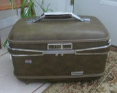 American Tourister Suitcase, Cosmetic, Make Up, Luggage, Train Case, Carry On, Vintage Ladies Womens Suitcase Travel Case, 1960s Mid Century