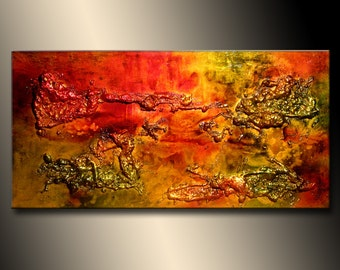 ORIGINAL Abstract Painting, Modern Textured Palette Knife Metallic Art by Henry Parsinia 48x24