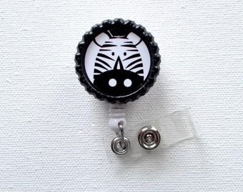 Zebra - Retractable Badge - Name Badge Reel - Cute Badge Reel - Nurse - Pediatric Badge Holder - Nurses Badge Clip