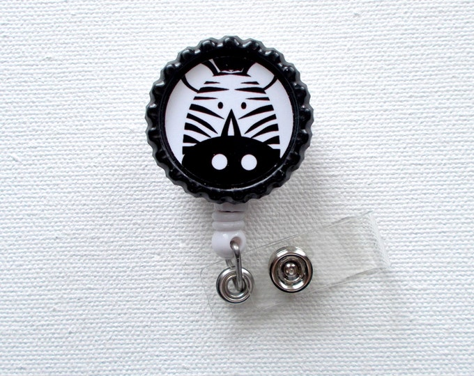 Zebra - Retractable Badge - Name Badge Reel - Cute Badge Reel - Nurse - Pediatric Badge Holder - Nurses Badge Clip