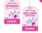 Pink Bowling Party - Personalized DIY printable favor tags