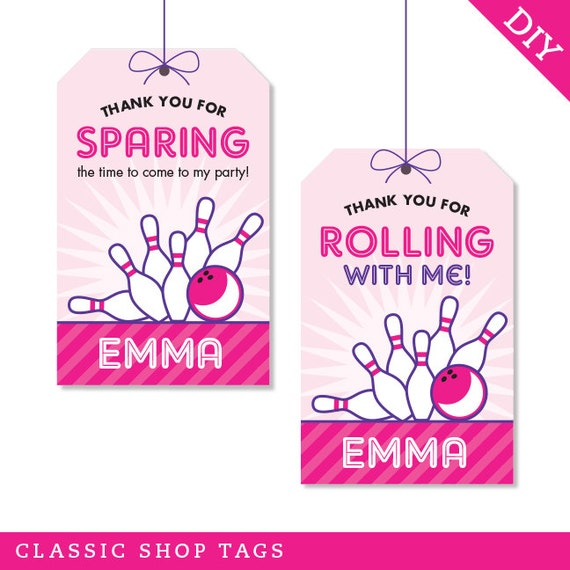 Pink Bowling Party Personalized DIY Printable Favor Tags