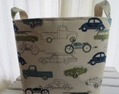 Storage bin, toy storage, baby organizer, 12 x 12 x 12- Premier Prints Retro Rides Felix Blue/Natural