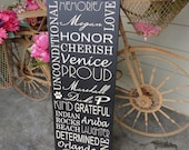 Custom Typography Word Art, Home Sign, Subway Sign, Family Rules, Memories, Phrases & Quotes, 12 X 36 inch.