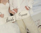 Wedding Chair Signs, Bride and Groom Wood Wedding Signs and/or Thank and You. Wedding Photo Props, Reception Signs.