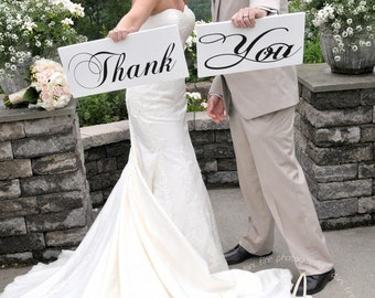 Thank You Wedding Signs for your Thank You Cards. 8 X 16 inches, 1-Sided. Reception Signs, Photographer Props, Bride Signs, Wedding Signs.