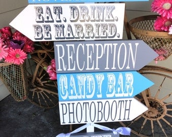 Beach Wedding Signs.  Six Customized Wedding Directional Signs with Arrows, handmade, unique signs for your Beach Wedding.