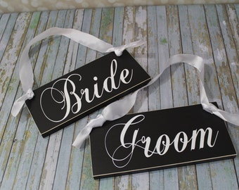 Bride and Groom Wedding Chair Signs and/or Thank and You.  6 X 12 inches. Wedding Reception Signs, Photo Props.