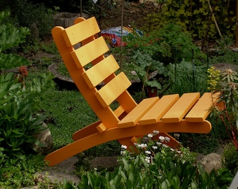 Paprika Orange Cedar Chair for Garden & Deck Outdoor Seating - Storable! - patio furniture - garden chairs - by Laughing Creek