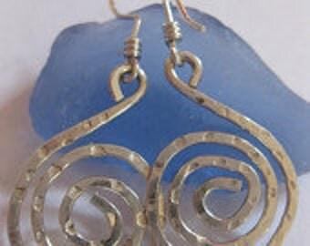 Sterling Silver Hand Forged Swirl Earrings