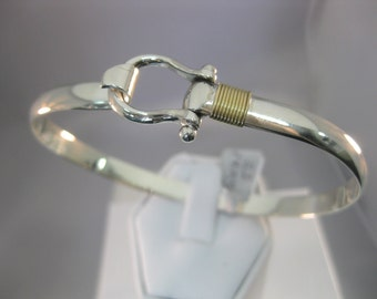 Shackle Hook Cuff in  Sterling Silver and 14k Gold