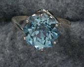 Swiss Blue Topaz Rose Petal Cut Unique Engagement Ring