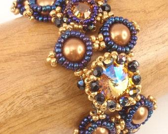 Beading Tutorial for Empress Bracelet,  jewelry pattern, beadweaving tutorials, instant download, PDF