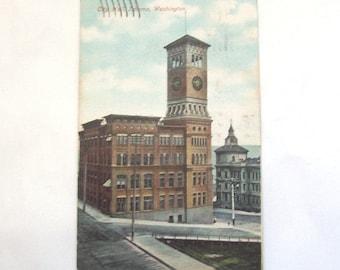 1908 Tacoma WA Postcard City Hall Pacific Northwest