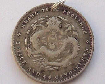 1890s Chinese Dragon Silver Double Dime Coin Charm