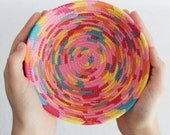 Fabric Coiled Bowl / Basket / Party Pink Small Round by PrairieThreads