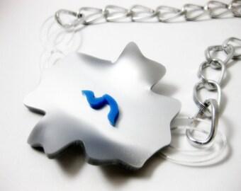 Silver flower acrylic necklace - contemporary jewellery - art jewelry