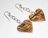 Heart Earrings - Mixed Metal Earrings - Metalwork - Fold Formed Jewelry