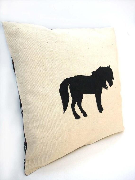 Black horse decorative pillow cover silhouette appliqued country farm decor pony