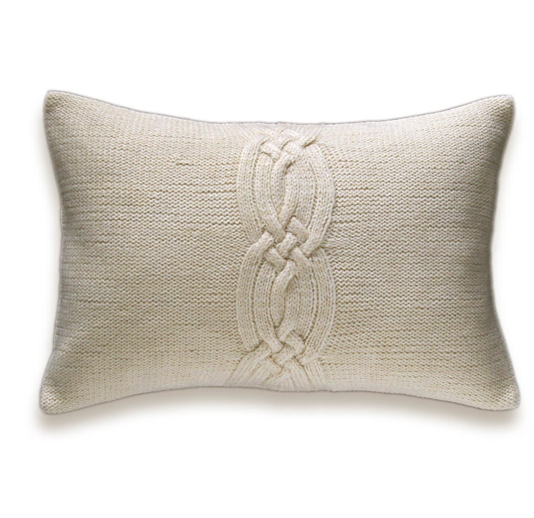 Knitting Pillows : Decorative cable knit pillow cover in ivory off white cream