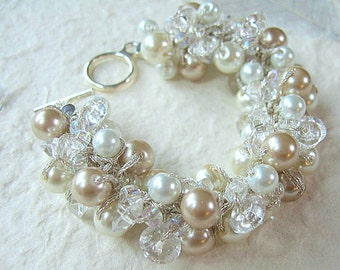 Chunky Bridal Wedding Bracelet with Crystals, Ivory, White, Champagne, Hand Knit Bangle Cuff, Unique Sereba Designs Artistic Fashion