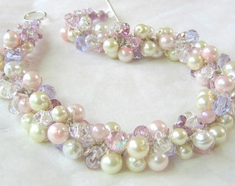 Lilac Pearl Crystal Bridal, Spring Wedding Necklace, ORCHID, Lavender, Light  Pink, Ivory, White, Crystals, Hand Knit Original
