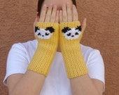 Panda Fingerless Gloves, Yellow Fingerless Gloves for Men or Women, Unisex Arm Warmers, Fingerless Mittens, Wrist Warmers, Hoooked