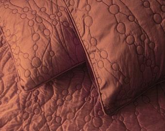 Handmade-Brown-Cotton quilt-unique gift-modern art quilt-hawaii lover gift-linen bedcover-throw blanket-king size bedspread-114x120