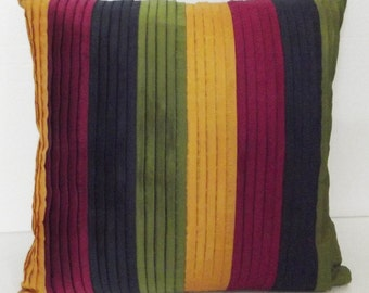 nave blue,yellow,green and pink stripe cushion cover in size 16x16 inches-pleated stripes in multi colour