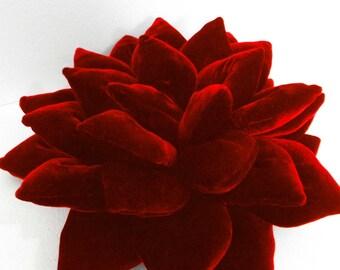 pouf-decorative red Lotus flower velvet pillow-flower pillow-home decor-16x16-throw pillow-meditation pillow- accent pillow-wedding pillow