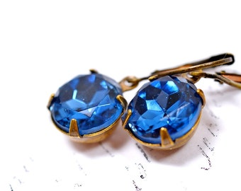 Sapphire Blue Earrings, Estate Style Jewelry, Blue Jewel Vintage Glass, Sapphire Color September Birthstone Jewelry