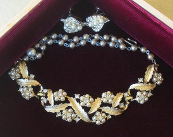Signed Coro Pearly Necklace & Earrings Set
